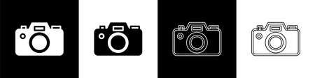 Set Photo camera icon isolated on black and white background. Foto camera icon. Vector