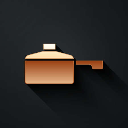 Gold Frying pan icon isolated on black background. Fry or roast food symbol. Long shadow style. Vector