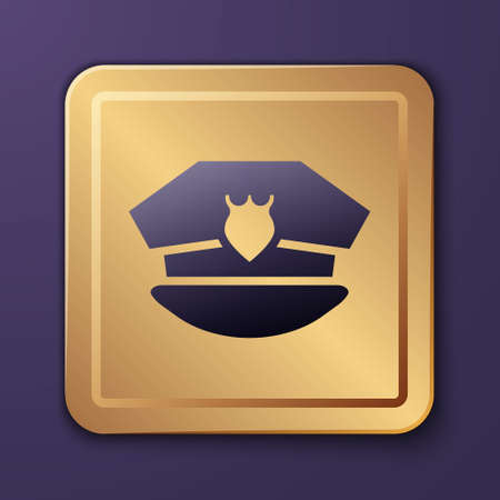 Purple Police cap with cockade icon isolated on purple background. Police hat sign. Gold square button. Vector Ilustración de vector