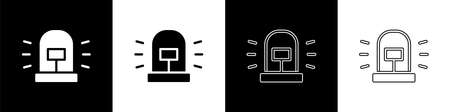 Set Flasher siren icon isolated on black and white background. Emergency flashing siren. Vector Çizim