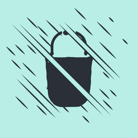 Black Bucket icon isolated on green background. Glitch style. Vector