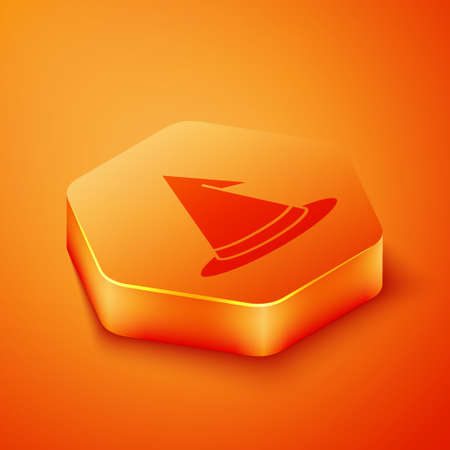 Isometric Witch hat icon isolated on orange background. Happy Halloween party. Orange hexagon button. Vector