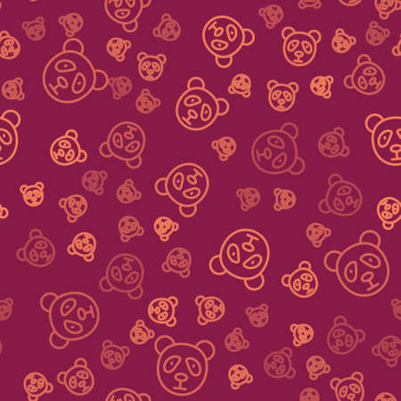 Brown line Cute panda face icon isolated seamless pattern on red background. Animal symbol. Vector  イラスト・ベクター素材