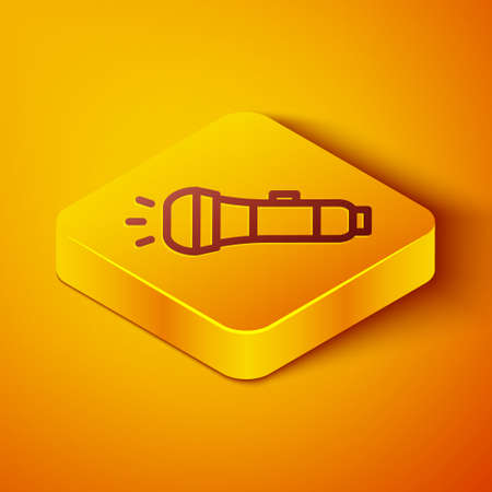 Isometric line Flashlight icon isolated on orange background. Yellow square button. Vector