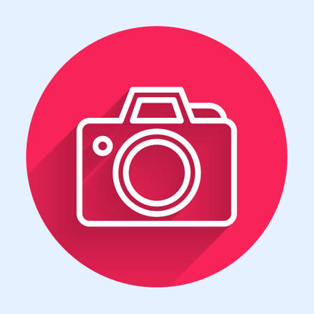 White line Photo camera icon isolated with long shadow. Foto camera icon. Red circle button. Vector