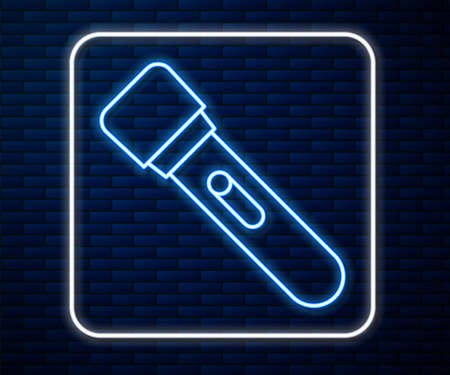 Glowing neon line Flashlight icon isolated on brick wall background. Vector