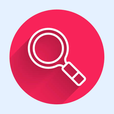 White line Magnifying glass with search icon isolated with long shadow. Detective is investigating. Red circle button. Vector Vektorové ilustrace