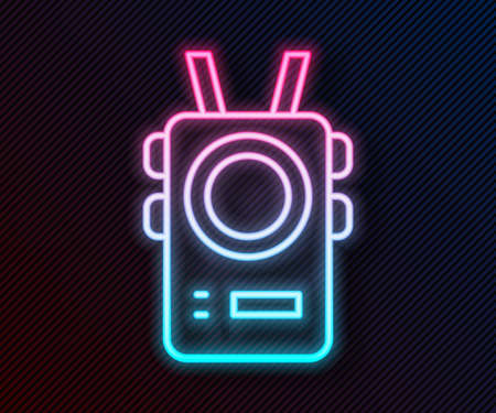 Glowing neon line Police body camera icon isolated on black background. Vector