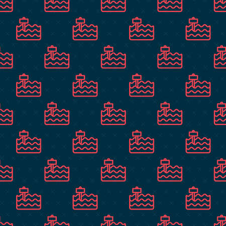 Red line Garden bed or cultivation bed icon isolated seamless pattern on black background. Vector Vektorgrafik