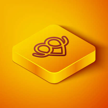 Isometric line Pretzel icon isolated on orange background. German comfort food pastry. Oktoberfest festival. Yellow square button. Vector Illustration