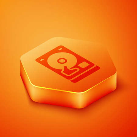 Isometric Hard disk drive HDD icon isolated on orange background. Orange hexagon button. Vector