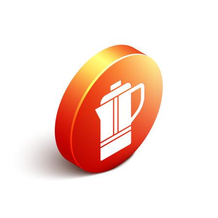Isometric Teapot icon isolated on white background. Orange circle button. Vector