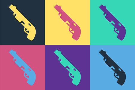 Pop art Police shotgun icon isolated on color background. Hunting shotgun. Vector