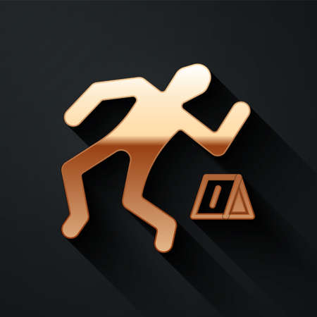 Gold Crime scene icon isolated on black background. Long shadow style. Vector