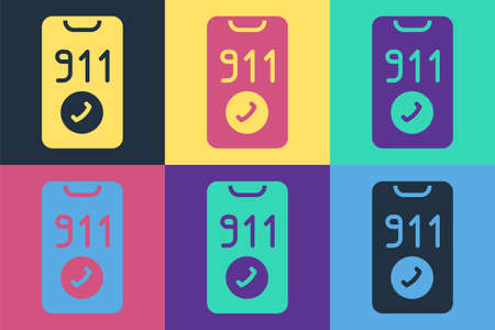 Pop art Telephone with emergency call 911 icon isolated on color background. Police, ambulance, fire department, call, phone. Vector Ilustracja