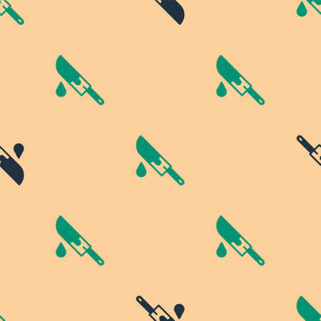 Green and black Bloody knife icon isolated seamless pattern on beige background. Vector Ilustracja