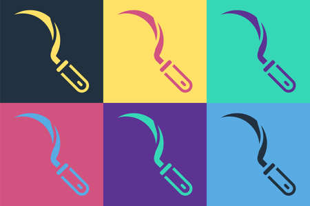 Pop art Sickle icon isolated on color background. Reaping hook sign. Vector