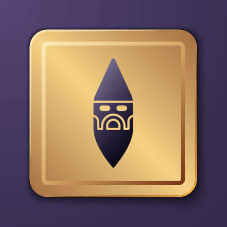 Purple Wizard warlock icon isolated on purple background. Gold square button. Vector