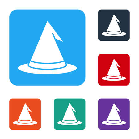 White Witch hat icon isolated on white background. Happy Halloween party. Set icons in color square buttons. Vector  イラスト・ベクター素材