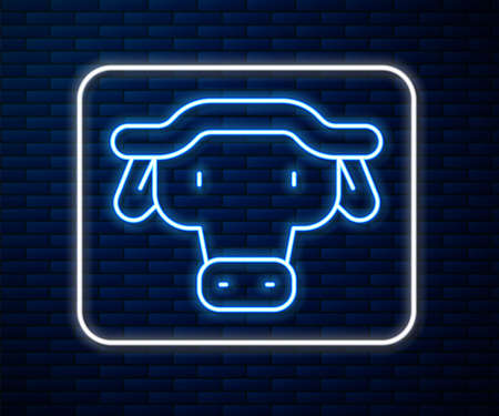 Glowing neon line African buffalo head icon isolated on brick wall background. Mascot, african savanna animal. Wild ox, carabao or bison bull with fused horns. Vector Ilustração