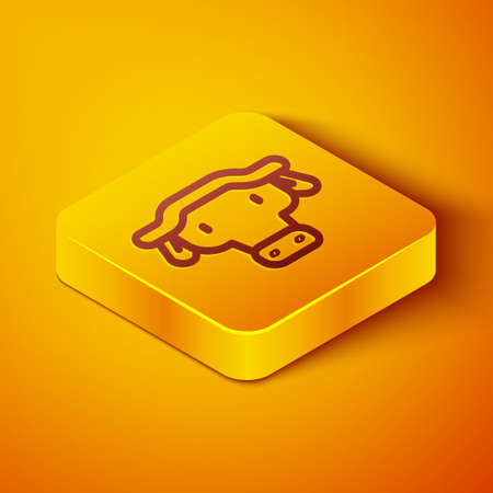 Isometric line African buffalo head icon isolated on orange background. Mascot, african savanna animal. Wild ox, carabao or bison bull with fused horns. Yellow square button. Vector