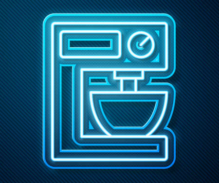 Glowing neon line Electric mixer icon isolated on blue background. Kitchen blender. Vector