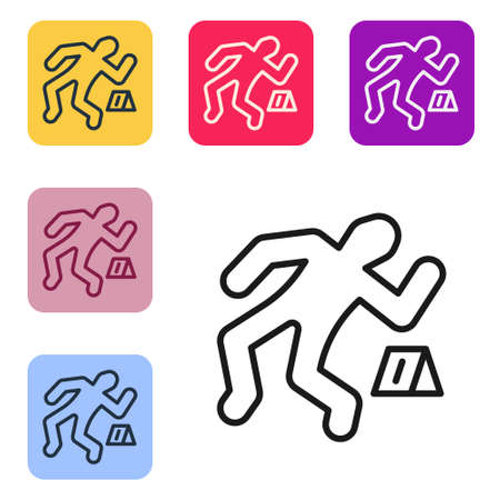Black line Crime scene icon isolated on white background. Set icons in color square buttons. Vector Ilustracja