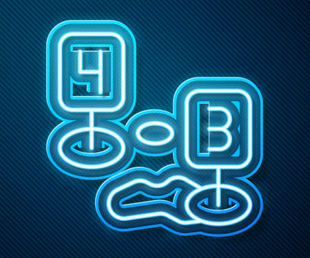 Glowing neon line Marker of crime scene icon isolated on blue background. Vector Ilustracja