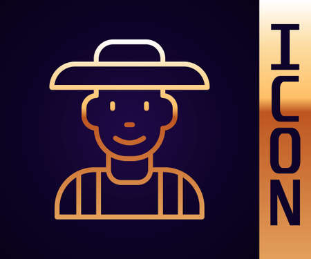 Gold line Farmer in the hat icon isolated on black background. Vector