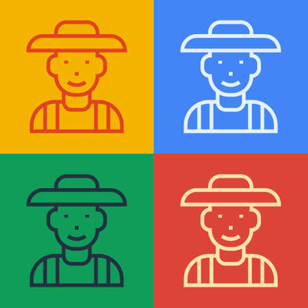 Pop art line Farmer in the hat icon isolated on color background. Vector