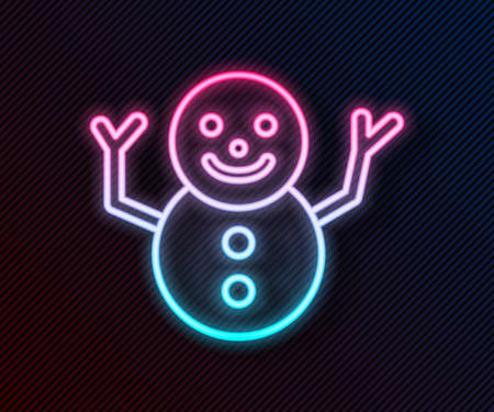 Glowing neon line Christmas snowman icon isolated on black background. Merry Christmas and Happy New Year. Vector Ilustracja