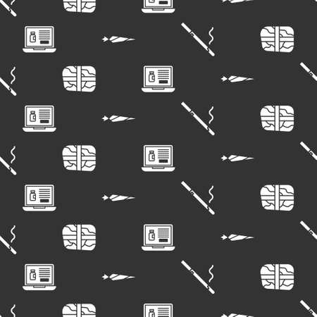 Set Cigarette, Package with cocaine, Buying drugs online on laptop and Marijuana joint on seamless pattern. Vector