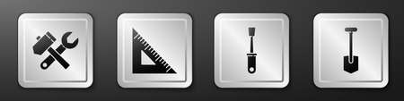 Set Hammer and wrench spanner, Triangular ruler, Screwdriver and Shovel icon. Silver square button. Vector