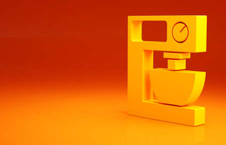 Yellow Electric mixer icon isolated on orange background. Kitchen blender. Minimalism concept. 3d illustration 3D render