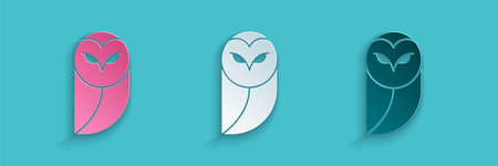 Paper cut Owl icon isolated on blue background. Animal symbol. Paper art style. Vector