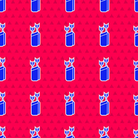 Blue Quiver with arrows icon isolated seamless pattern on red background. Vector Ilustracja