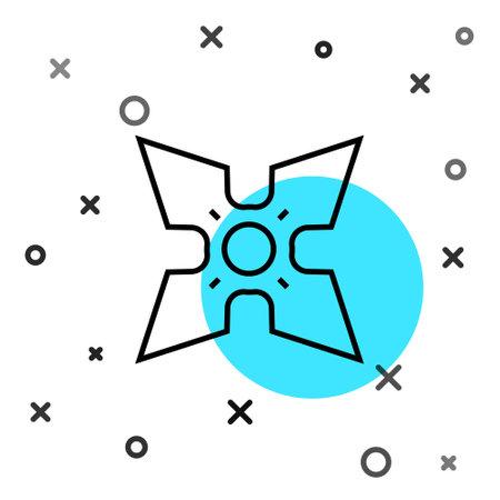 Black line Japanese ninja shuriken icon isolated on white background. Random dynamic shapes. Vector Ilustração Vetorial