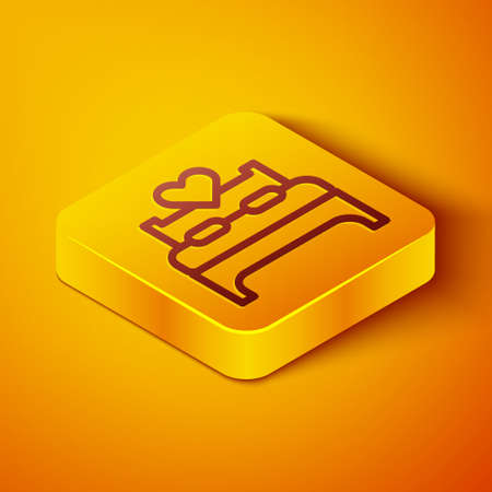 Isometric line Bedroom icon isolated on orange background. Wedding, love, marriage symbol. Bedroom creative icon from honeymoon collection. Yellow square button. Vector