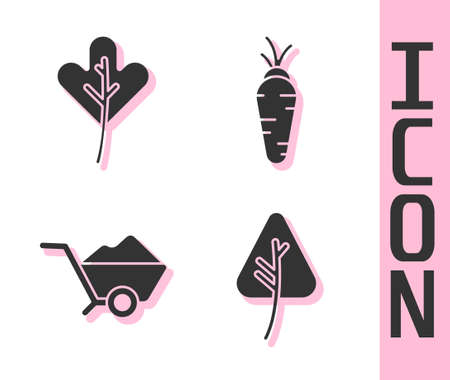 Set Leaf or leaves, Leaf or leaves, Wheelbarrow with dirt and Carrot icon. Vector