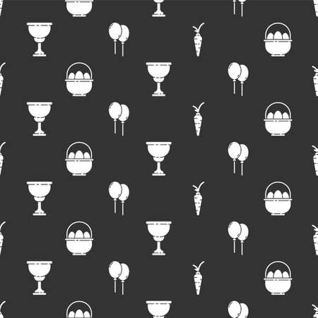 Set Carrot, Basket with easter eggs, Christian chalice and Balloons with ribbon on seamless pattern. Vector