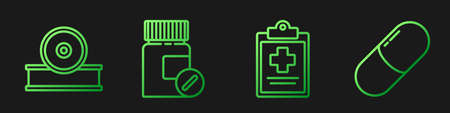 Set line Medical clipboard with clinical record, Otolaryngological head reflector, Medicine bottle and pills and Medicine pill or tablet. Gradient color icons. Vector
