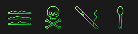 Set line Cigarette, Cocaine or heroin drug, Skull on crossbones and Heroin in a spoon. Gradient color icons. Vector