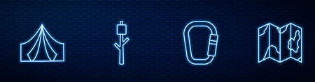 Set line Carabiner, Tourist tent, Marshmallow on stick and Location of the forest map. Glowing neon icon on brick wall. Vector