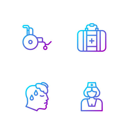 Set line Nurse, High human body temperature, Wheelchair and First aid kit. Gradient color icons. Vector