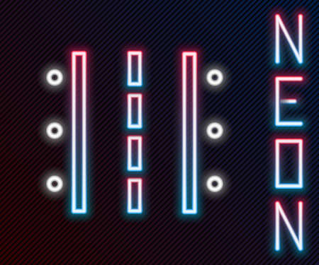Glowing neon line Airport runway for taking off and landing aircrafts icon isolated on black background. Colorful outline concept. Vector Illustration Векторная Иллюстрация