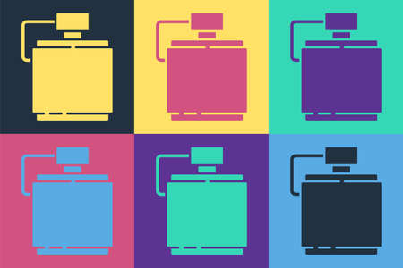 Pop art Canteen water bottle icon isolated on color background. Tourist flask icon. Jar of water use in the campaign. Vector Иллюстрация