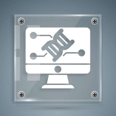 White Genetic engineering modification on monitor icon isolated on grey background. DNA analysis, genetics testing, cloning. Square glass panels. Vector