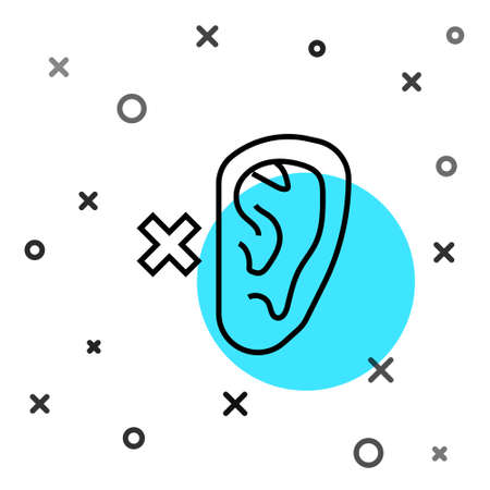 Black line Deafness icon isolated on white background. Deaf symbol. Hearing impairment. Random dynamic shapes. Vector  イラスト・ベクター素材