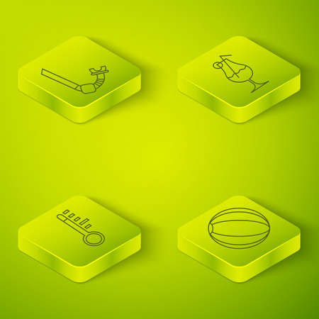 Set Isometric Cocktail and alcohol drink, Meteorology thermometer, Beach ball and Snorkel icon. Vector