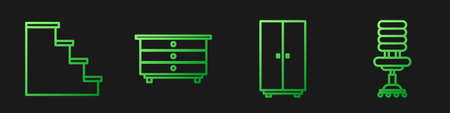 Set line Wardrobe, Staircase, Chest of drawers and Office chair. Gradient color icons. Vector 向量圖像